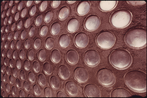 Detail of a Wall in an Experimental Home Built of Aluminum Beer and Soft Drink Cans near Taos, New Mexico.