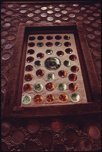Bottle Window in the Entranceway to an Experimental Home Built with Empty Steel Beer and Soft Drink Cans near Taos, New Mexico.