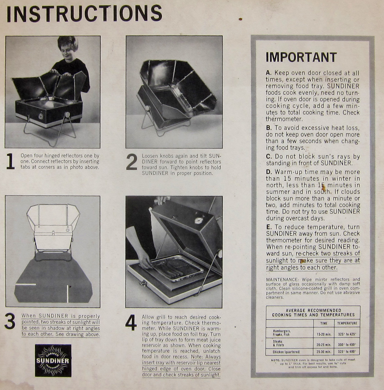 Sundiner solar cooker instructions