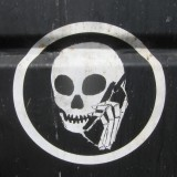 skull/cell phone street art