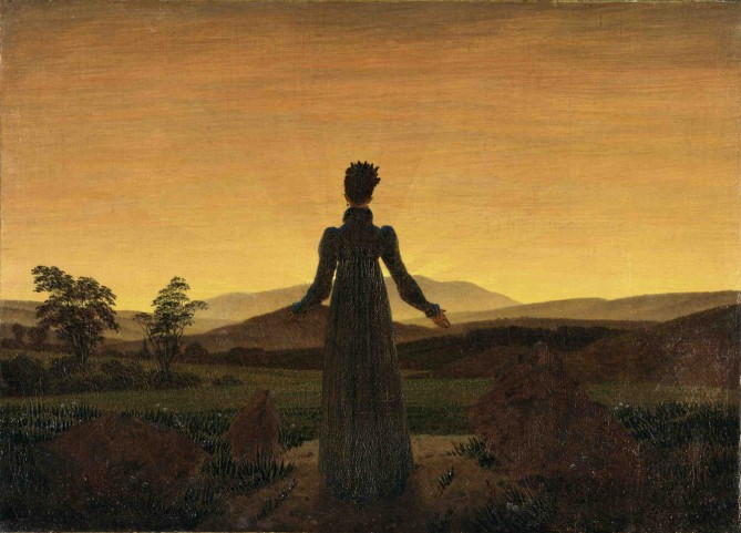 Painting by Caspar David Friedrich, Woman Before the Rising Sun, 1818-20