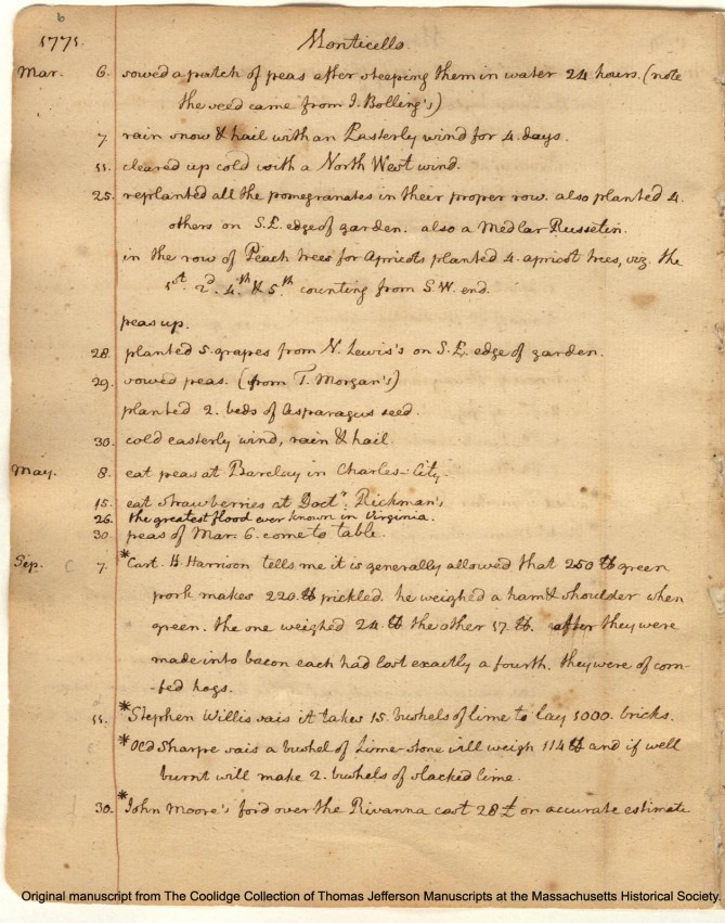 A page from Thomas Jefferson's garden diary.