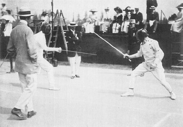 General Patton fencing in the 1912 Olympic games.