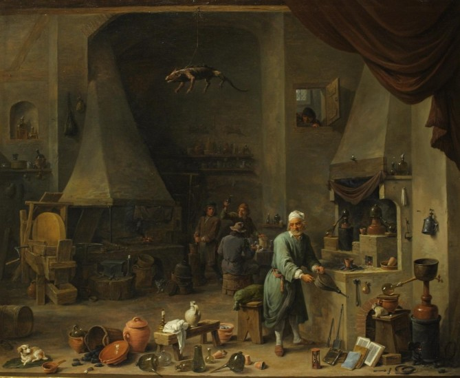Interior of a Laboratory with an Alchemist. David Teniers II. Oil on canvas, 17th Century