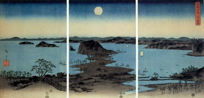 Japanese landscape with full moon