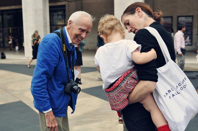 Bill Cunningham at Fashion Week. Photo: Jiyang Chen.