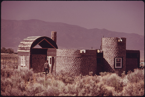 Another Experimental House Made of Empty Steel Beer and Soft Drink Can Construction near Taos, New Mexico.