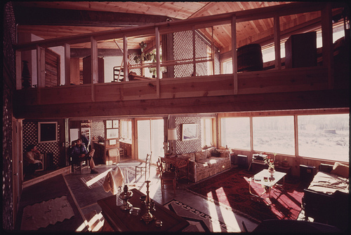 Interior View of the All Aluminum Beer and Soft Drink Can Experimental House near Taos, New Mexico.