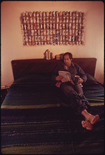 Lawyer Steve Natelson, Who Lives near Taos, New Mexico Relaxes on the Bed of His Experimental Home Built of Empty Steel Beer and Soft Drink Cans.
