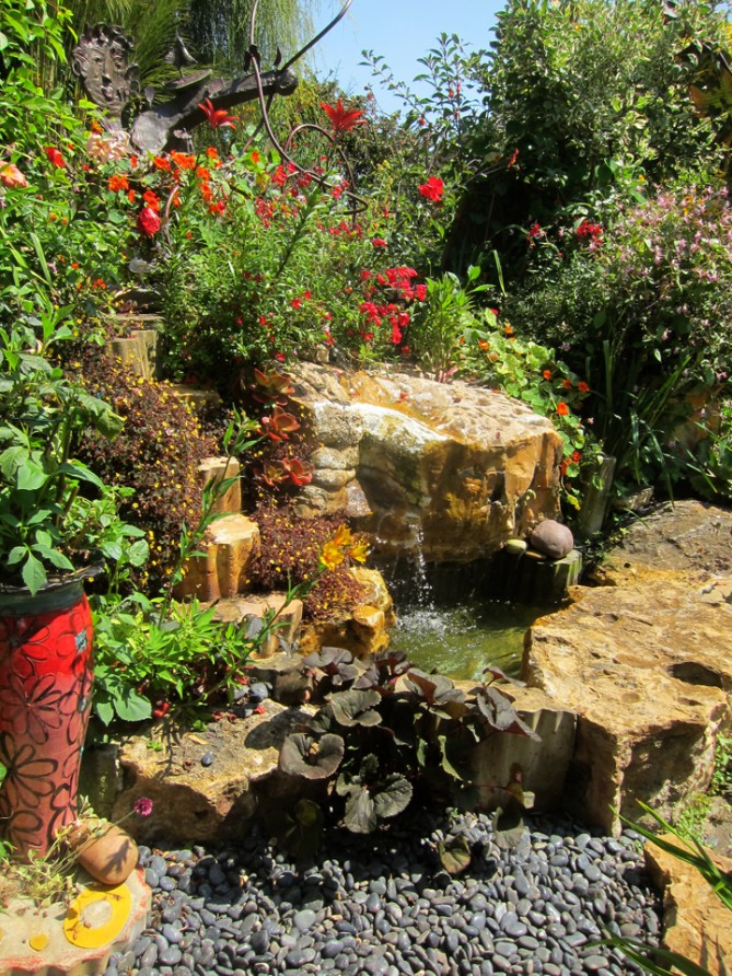 A water feature at Keeyla Meadows' garden in Berkeley.