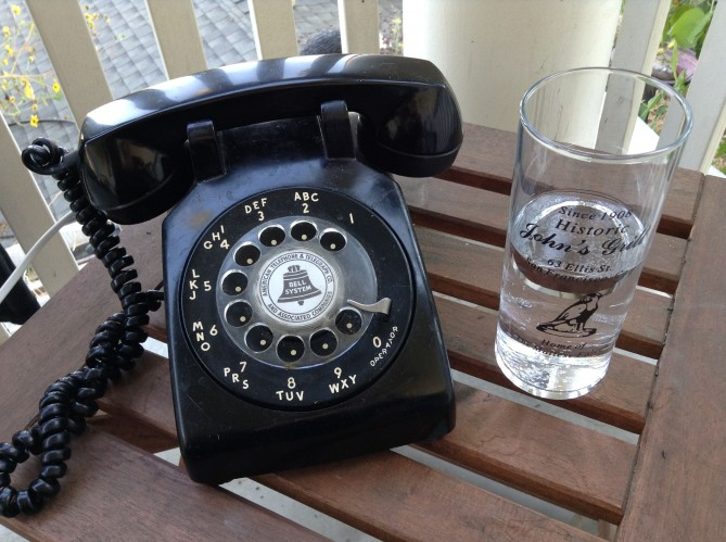 telephone and glass of water