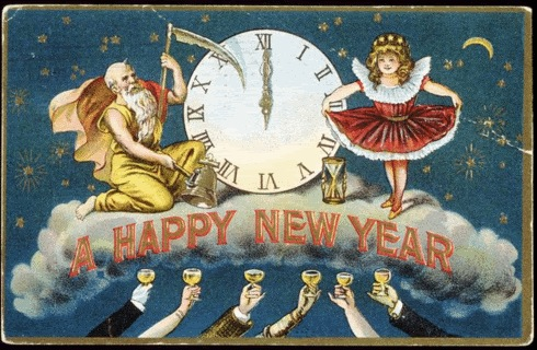vintage new years postcard