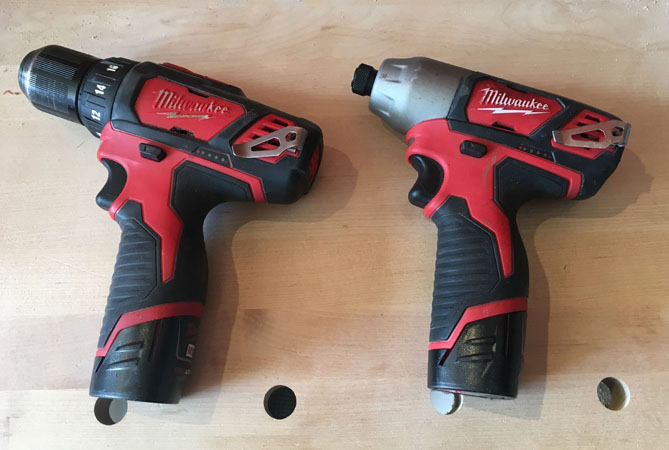 Drill on left, impact driver on right.